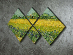 Field with flowers near Arles 4 Square Multi Panel Canvas - Canvas Art Rocks - 2