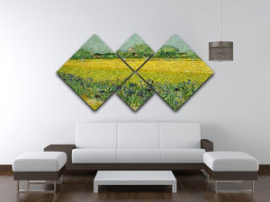 Field with flowers near Arles 4 Square Multi Panel Canvas - Canvas Art Rocks - 3