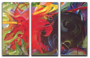 Fighting forms by Franz Marc 3 Split Panel Canvas Print - Canvas Art Rocks - 1