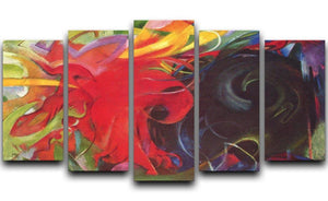 Fighting forms by Franz Marc 5 Split Panel Canvas  - Canvas Art Rocks - 1