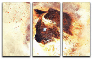 Fire Cat Painting 3 Split Panel Canvas Print - Canvas Art Rocks - 1