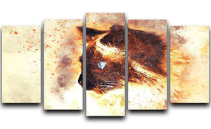 Fire Cat Painting 5 Split Panel Canvas  - Canvas Art Rocks - 1