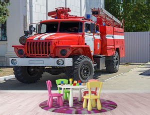 Fire Truck In The City Wall Mural Wallpaper - Canvas Art Rocks - 3
