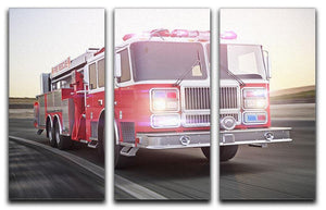 Fire truck running with lights and sirens 3 Split Panel Canvas Print - Canvas Art Rocks - 1