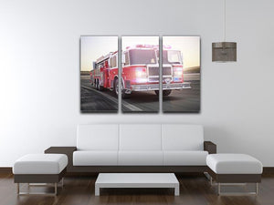 Fire truck running with lights and sirens 3 Split Panel Canvas Print - Canvas Art Rocks - 3