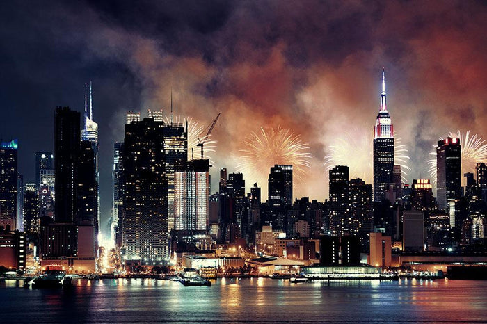 Fireworks show with Manhattan skyscrapers Wall Mural Wallpaper