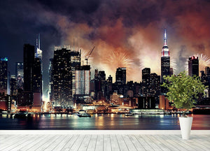 Fireworks show with Manhattan skyscrapers Wall Mural Wallpaper - Canvas Art Rocks - 4