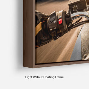 First Person Motorbike Ride Floating Frame Canvas