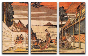 First act by Hokusai 3 Split Panel Canvas Print - Canvas Art Rocks - 1