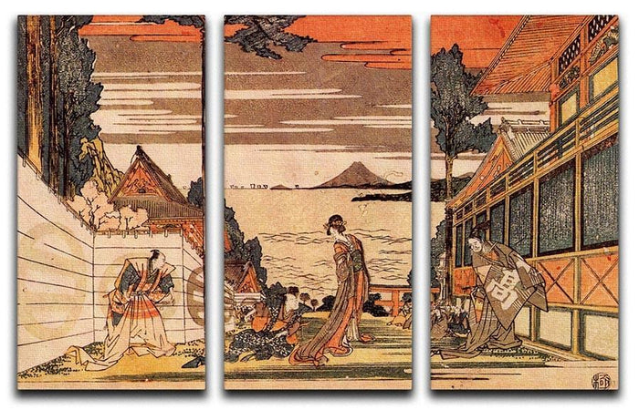 First act by Hokusai 3 Split Panel Canvas Print