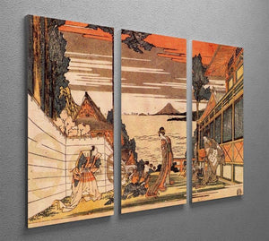 First act by Hokusai 3 Split Panel Canvas Print - Canvas Art Rocks - 2