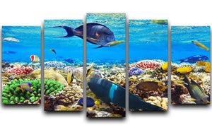 Fish in the Red Sea 5 Split Panel Canvas  - Canvas Art Rocks - 1