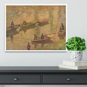 Fishermen on the Seine at Poissy by Claude_Monet Framed Print - Canvas Art Rocks -6