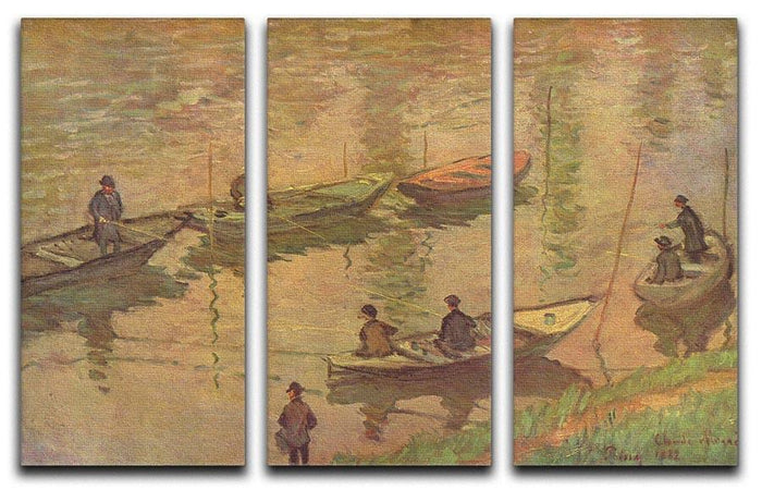Fishermen on the Seine at Poissy by Claude_Monet Split Panel Canvas Print