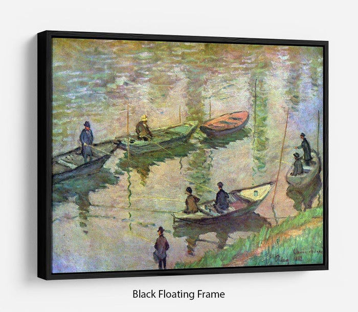 Fishermen on the Seine at Poissy by Monet Floating Frame Canvas