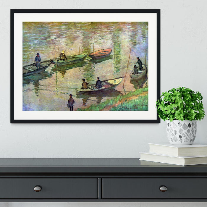 Fishermen on the Seine at Poissy by Monet Framed Print