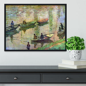 Fishermen on the Seine at Poissy by Monet Framed Print - Canvas Art Rocks - 2