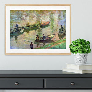 Fishermen on the Seine at Poissy by Monet Framed Print - Canvas Art Rocks - 3