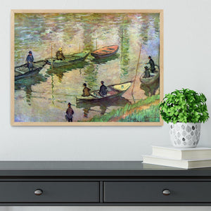 Fishermen on the Seine at Poissy by Monet Framed Print - Canvas Art Rocks - 4
