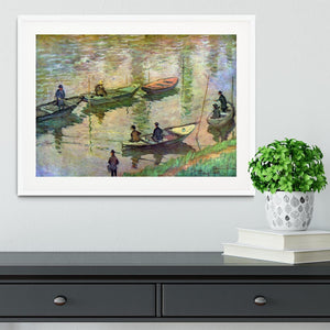 Fishermen on the Seine at Poissy by Monet Framed Print - Canvas Art Rocks - 5