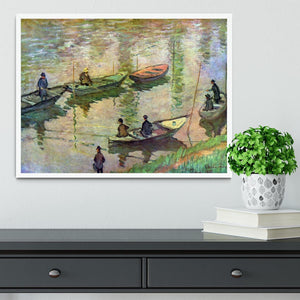 Fishermen on the Seine at Poissy by Monet Framed Print - Canvas Art Rocks -6