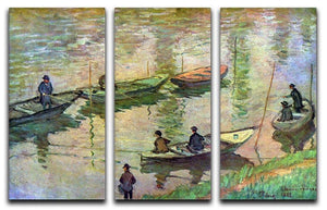 Fishermen on the Seine at Poissy by Monet Split Panel Canvas Print - Canvas Art Rocks - 4