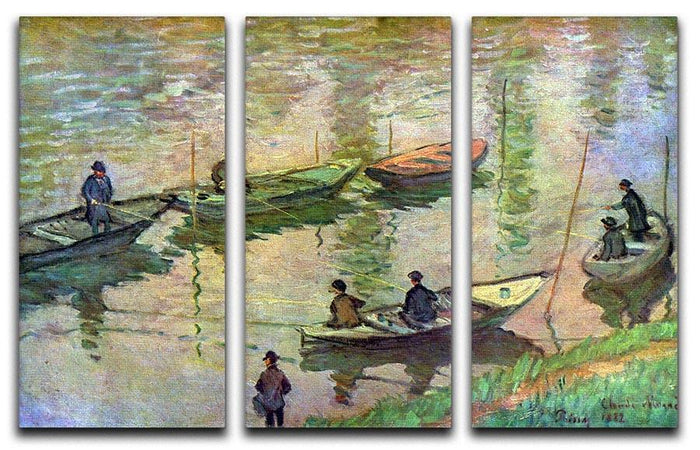 Fishermen on the Seine at Poissy by Monet Split Panel Canvas Print