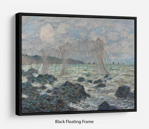 Fishing nets at Pourville by Monet Floating Frame Canvas