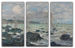 Fishing nets at Pourville by Monet Split Panel Canvas Print - Canvas Art Rocks - 4
