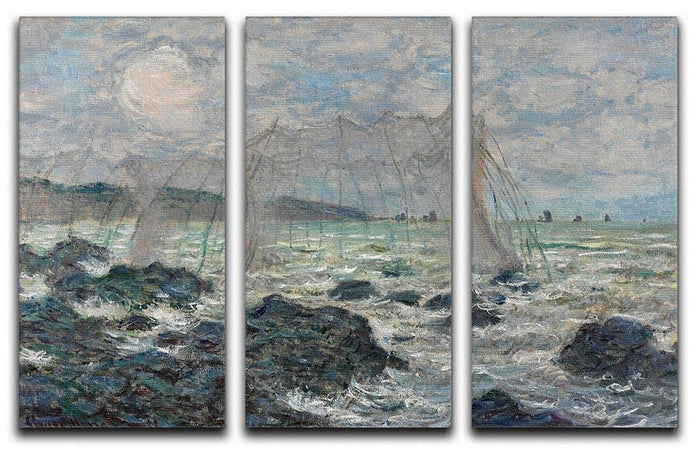 Fishing nets at Pourville by Monet Split Panel Canvas Print