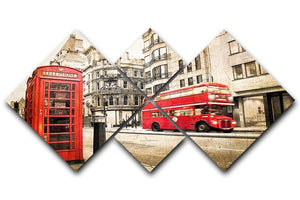 Fleet street vintage sepia 4 Square Multi Panel Canvas  - Canvas Art Rocks - 1