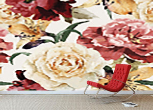 Floral pattern with roses Wall Mural Wallpaper - Canvas Art Rocks - 2