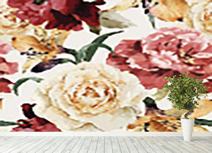 Floral pattern with roses Wall Mural Wallpaper - Canvas Art Rocks - 4
