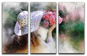 Flower Girl Painting 3 Split Panel Canvas Print - Canvas Art Rocks - 1