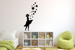 Flower Girl Wall Sticker - Canvas Art Rocks - 1
