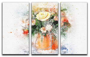 Flower Painting 3 Split Panel Canvas Print - Canvas Art Rocks - 1
