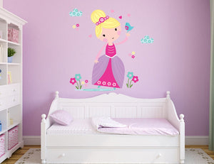 Flower Princess Wall Sticker - Canvas Art Rocks