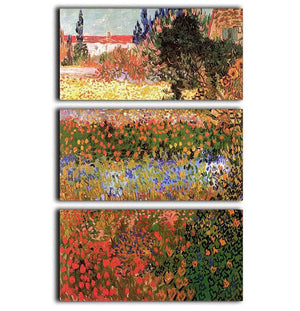 Flowering Garden by Van Gogh 3 Split Panel Canvas Print - Canvas Art Rocks - 1