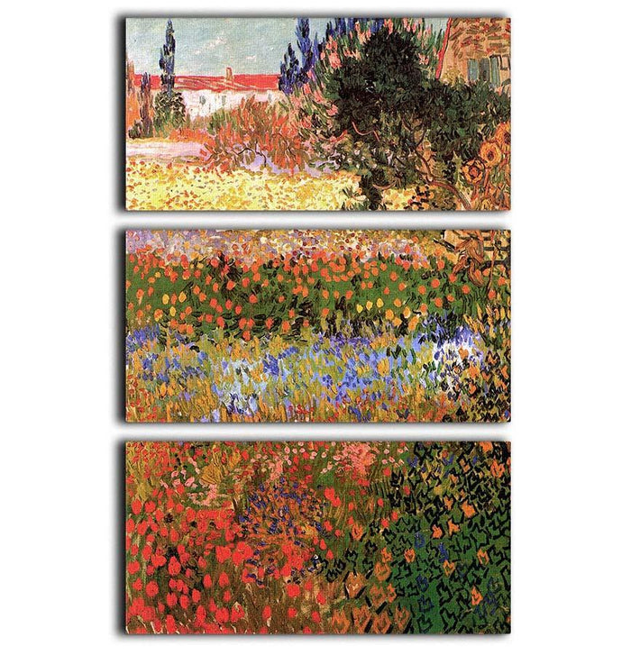 Flowering Garden by Van Gogh 3 Split Panel Canvas Print