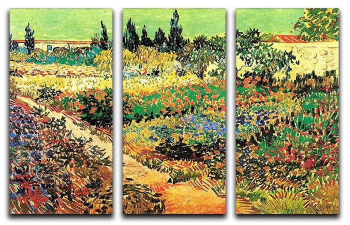 Flowering Garden with Path by Van Gogh 3 Split Panel Canvas Print