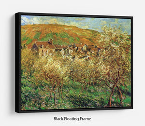 Flowering apple trees by Monet Floating Frame Canvas