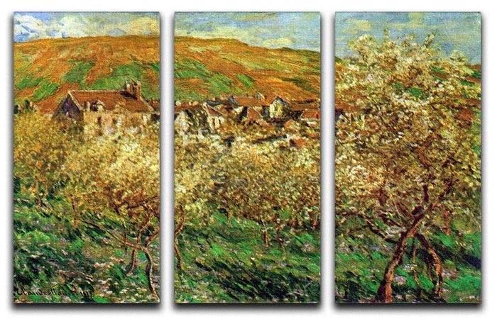Flowering apple trees by Monet Split Panel Canvas Print