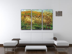 Flowering apple trees by Monet Split Panel Canvas Print - Canvas Art Rocks - 4
