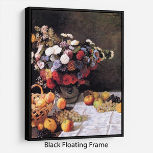 Flowers and Fruits by Monet Floating Frame Canvas