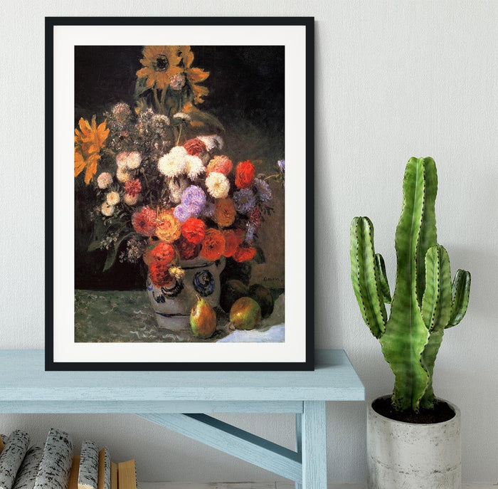 Flowers in a vase by Renoir Framed Print