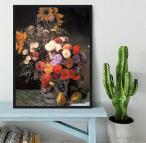 Flowers in a vase by Renoir Framed Print - Canvas Art Rocks - 2