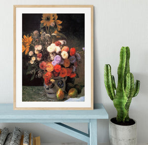 Flowers in a vase by Renoir Framed Print - Canvas Art Rocks - 3