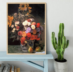 Flowers in a vase by Renoir Framed Print - Canvas Art Rocks - 4