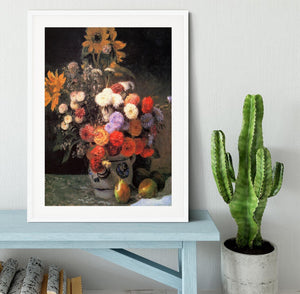 Flowers in a vase by Renoir Framed Print - Canvas Art Rocks - 5