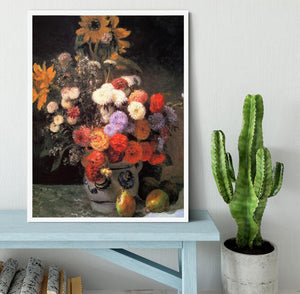Flowers in a vase by Renoir Framed Print - Canvas Art Rocks -6